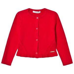 Image of Mayoral Girls Jumpers and knitwear Red Red Knitted Cardigan with Frill Hem
