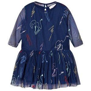 Stella McCartney Kids Girls Dresses Navy Navy Luna Embroidered Skates Tulle Dress