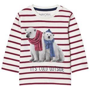 Mayoral Boys Tops Red Red Stripe Polar Bear Print Long Sleeve Tee