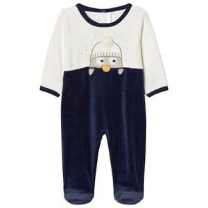 Absorba Unisex All in ones Navy Navy and Cream Penguin Footed Baby Body