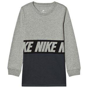 NIKE Boys Tops Grey Sportswear Advance 15 Long Sleeve Tee Grey Heather/Black