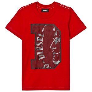 Diesel Boys Tops Red Red D Logo Tee
