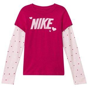 NIKE Girls Tops Pink Pink Long Sleeve Logo Tee