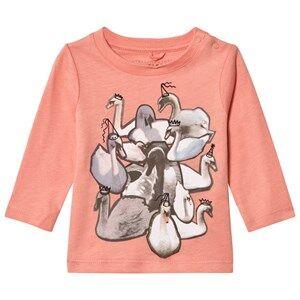 Stella McCartney Kids Girls Tops Pink Pink Swans Print Georgie Tee