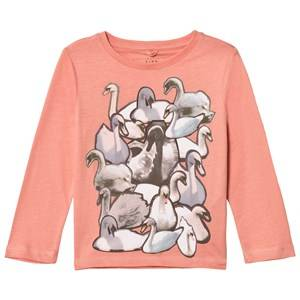 Stella McCartney Kids Girls Tops Pink Pink Swans Print Bella Tee