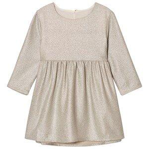 Carrément Beau Girls Dresses Gold Gold Lurex Long Sleeve Dress