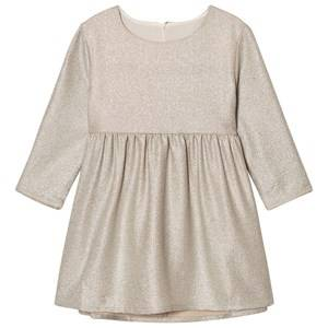 Image of Carrément Beau Girls Dresses Gold Gold Lurex Long Sleeve Dress