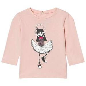 Little Marc Jacobs Girls Tops Pink Pale Pink Miss Marc Ballerina Print Tee