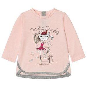 Little Marc Jacobs Girls Tops Pink Pale Pink Cat Ballerina Print Tee