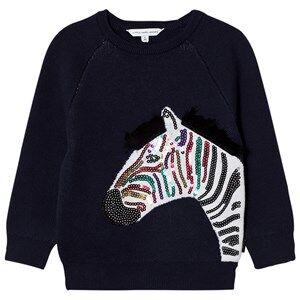 Little Marc Jacobs Girls Jumpers and knitwear Navy Navy Applique Sequin Zebra Sweatshirt
