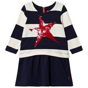Image of Tom Joule Girls Dresses Navy Navy Stripe Jersey Dress with Sequin Star
