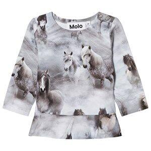 Molo Girls Tops Grey Elisabeth Long Sleeve Tee Pony