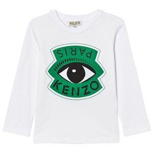 Kenzo Boys Tops White White Eye and Eiffel Tower Print Long Sleeve Tee