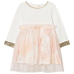 Image of Billieblush Girls Dresses Pink White Pale Pink Sequin Floral Dress