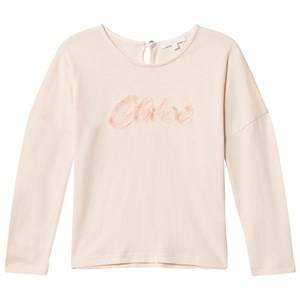 Chloé Girls Tops Pink Pale Pink Fringe Branded Tee