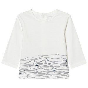 Carrément Beau Girls Tops White White Sail Boat Sea Print Tee