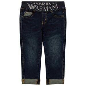 Giorgio Armani Junior Boys Bottoms Navy Mid Wash Logo Waistband Jeans