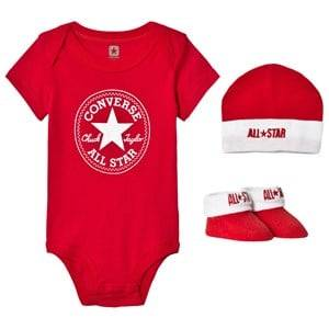 Converse Unisex All in ones Red Red Baby Body, Beanie and Booties Set