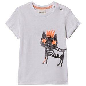 Diesel Girls Tops White Cat Print T-shirt