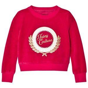 Juicy Couture Girls Jumpers and knitwear Pink Fuchsia Glitter Logo Laurel Velour Sweatshirt