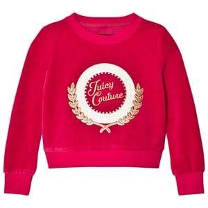 Image of Juicy Couture Girls Jumpers and knitwear Pink Fuchsia Glitter Logo Laurel Velour Sweatshirt