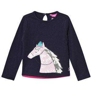 Tom Joule Girls Tops Navy Navy Sequin Horse Print Tee