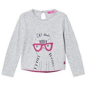 Tom Joule Girls Tops Grey Grey Cat-I-Tude Print Tee