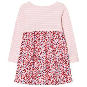 Image of Tom Joule Girls Dresses Pink Pink Stripe and Heart Print Jersey Dress