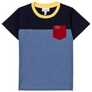 Lacoste Boys Tops Multi Colorblock Pocket Tee Blue/Navy