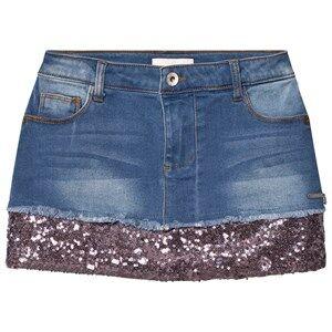 Guess Girls Skirts Blue Mid Wash Denim Sequin Skirt