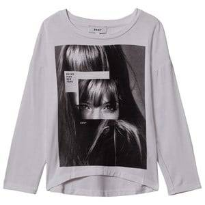 DKNY Girls Tops White Face Print Tee