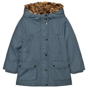 Stella McCartney Kids Girls Coats and jackets Blue Blue Blythe Hooded Jacket Tiger Faux Fur Lining
