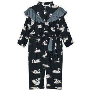 Image of Stella McCartney Kids Girls All in ones Green Navy Ariel Swan Print Frill Jumpsuit