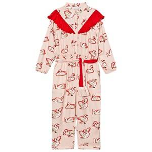 Stella McCartney Kids Girls All in ones Pink Pink Ariel Swan Print Frill Jumpsuit