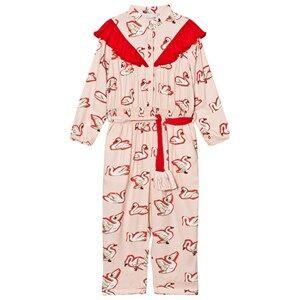 Image of Stella McCartney Kids Girls All in ones Pink Pink Ariel Swan Print Frill Jumpsuit