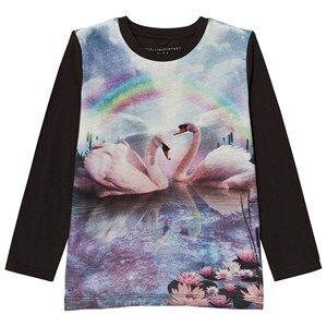 Stella McCartney Kids Girls Tops Black Blue Rainbow Swan Bella Tee