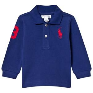 Ralph Lauren Boys Tops Blue Mesh Long Sleeve Polo Royal Blue