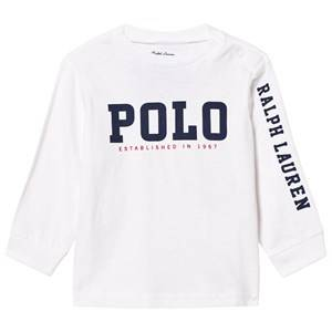 Image of Ralph Lauren Boys Tops White Slub Cotton Jersey Graphic Tee White