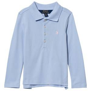 Ralph Lauren Girls Tops Blue Stretch Mesh Long Sleeve Polo Blue