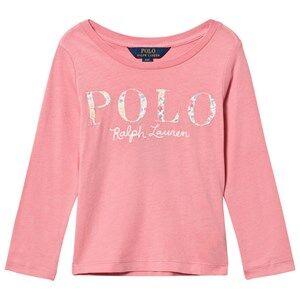 Ralph Lauren Girls Tops Pink Long Sleeve Floral Applique Tee Pink