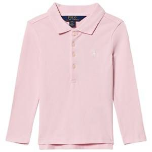 Ralph Lauren Girls Tops Pink Stretch Mesh Long Sleeve Polo Pink