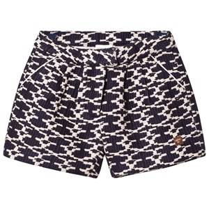 Image of Carrément Beau Girls Shorts Navy Navy and White Woven Shorts