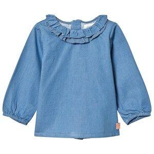Carrément Beau Girls Tops Blue Blue Chambray Frill Blouse