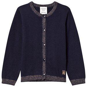 Carrément Beau Girls Jumpers and knitwear Navy Navy Lurex Rib Knit Cardigan