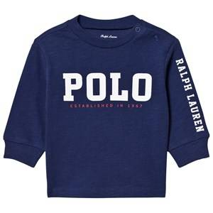 Image of Ralph Lauren Boys Tops Navy Slub Cotton Jersey Graphic Tee Navy