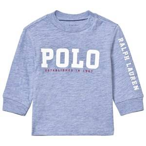 Image of Ralph Lauren Boys Tops Blue Slub Cotton Jersey Graphic Tee Pale Blue