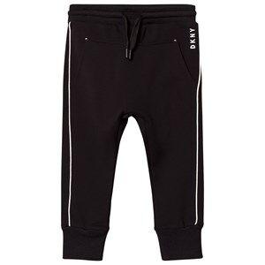 DKNY Girls Bottoms Black Black and White Branded Track Pants