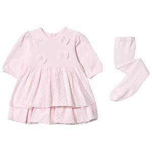 Image of Emile et Rose Girls Dresses Pink Lilah Pink Dress with Spot Detailing and Matching Tights