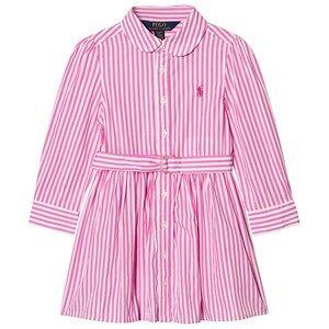Image of Ralph Lauren Girls Dresses Pink Striped Shirt Dress Pink/White