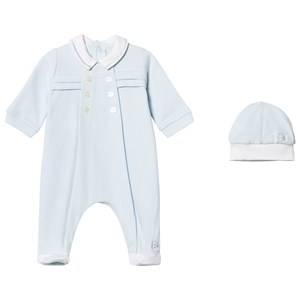 Emile et Rose Boys All in ones Blue Lance Footed Baby Body and Beanie Set in Blue